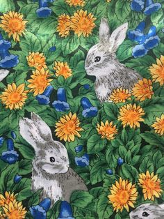 Excited to share the latest addition to my #etsy shop: Bunnies Rabbits Flowers (4) Cloth Dinner Napkins http://etsy.me/2Ca4yuD #housewares #green #easter #square #cotton #bunnies #rabbits #flowers #easteregg