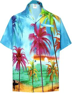 f0d38eb0 HAPPY BAY Men Hawaiian Shirt Collar Button Down Blue_W607 M|Chest 40