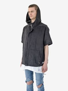 Profound Aesthetic Poly Suede Short Sleeve Jacket in Black. Spring Summer 2016 Flight Through the Gardens Collection. http://profoundco.com