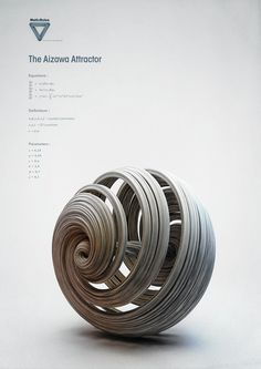 Strange Attractors A beautiful science/math/art intersection from Chaotic Atmospheres on Behance. These digital sculptures represent complex functions that are part chaos and part structure. (If youre a digital illustrator, theres a Cinema 4D tutorial for these at the link!)