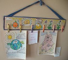 Clothespin Art Center - Crafts by Amanda Displaying Kids Artwork, Artwork Display, Recycled Crafts, Wood Crafts, Diy Crafts, Simple Crafts, Craft Projects For Kids, Diy Projects, Craft Ideas