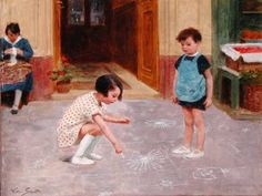 Victor Gabriel Gilbert (France, 1847-1935) ~  Hopscotch