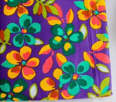 FAT QUARTER cotton fabric  bright flowers with by ChezviesSupplies, $2.00