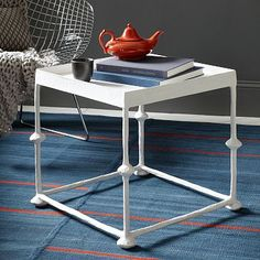 Two of these as a coffee table - like the neutral white - we could paint them.  Handmade look is nice. Steven Alan Papier-Mâché Side Table - Square #westelm