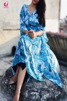 Buy Blue Kaftan Style Georgette Kurti Online in India Kaftan Kurti, New Designer Dresses, Kaftan Style, Embroidered Kurti, Kurti Neck Designs, Crepe Skirts, Collar Designs, Look Fashion, Fashion Design