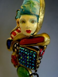 Circus Art to wear clown Mixed media pendant necklace jewelry ooak Laugh fun by Sorrentino