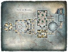 A DM's hi-res version of the Path of Blades map included in the adventure Blades of the Stygian Masque from Dungeon Magazine #219.  Sized at 4200 x 3223 pixels, it's perfect for home printing or screen display.  Purchase the hi-res download here - Blades of the Stygian Mask; Path of Blades (DM Version)
