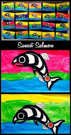 Ideas and Freebies for a Grade Salmon Unit: Salmon Books, Salmon Mural, Lifecycle Wheel, Salmon Art. Aboriginal Art For Kids, Aboriginal Education, Art Education, Color Wheel Art, 3rd Grade Art, Grade 2, Art Lessons For Kids, School Lessons, Fall Art Projects