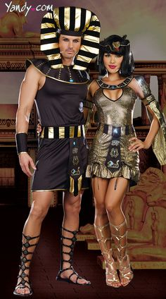 Egyptian Royalty Couples Costume. I'm pretty sure my bf won't feel like getting the spray tan for this..... Or shaving his legs haha!