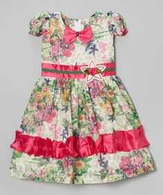 Look at this #zulilyfind! Hot Pink Floral Bow Ruffle Dress - Toddler & Girls #zulilyfinds