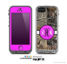 The Real Camouflage Pink Custom Monogram Skin for the Apple iPhone 5c LifeProof Case on Etsy, $9.99
