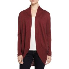 Neiman Marcus Knit Cocoon Cardigan ($85) ❤ liked on Polyvore featuring tops, cardigans, merlot, knit cardigan, long sleeve open front cardigan, red top, red knit cardigan and red cardigan