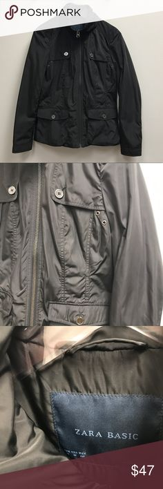 Zara Basic Black Trench Zip Up Windbreaker Trench coat style with the details. Great used condition. Originally bought in France. Zara Jackets & Coats Utility Jackets