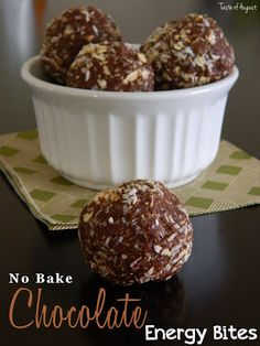 No Bake Chocolate Energy Bites - 2/3 cup peanut butter - 1/2 cup honey or maple syrup - 1 tsp. vanilla extract - 1 cup quick rolled oats (you can also use dry oatmeal) - 1 cup coconut flakes - 1/4 cup unsweetened cocoa powder - 1/2 cup ground flax seed (or wheat germ) - 40 toasted hazelnuts, chopped