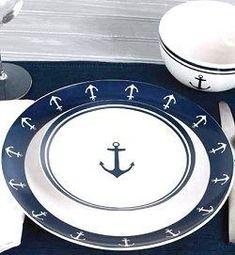 Nautical theme dinnerware, coastal theme dinnerware, elegant dinnerware for beach house, dinnerware for yachts Beach Cottage Style, Beach Cottage Decor, Coastal Style, Coastal Decor, Coastal Cottage, Nautical Gifts, Nautical Home, Nautical Anchor, Nautical Style