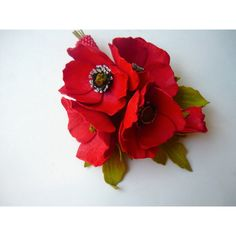 Wedding Red Summer Flower Wild Poppy Bridal Brooch Bouquet, Groom's... ($15) ❤ liked on Polyvore featuring jewelry, brooches, red brooch, red poppy brooch, floral brooch, holiday brooch and flower brooch