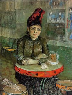 A strikingly-dressed woman is shown seated at a small table, smoking a cigarette and staring into space. The tambourine-shaped tables and bar-stools tell us that she is in the Café du Tambourin on the Boulevard de Clichy. The woman depicted is probably Agostina Segatori, the owner of this café frequented by Van Gogh and his friends. The artist paid for his meals with flower still lifes. It was here that Van Gogh's paintings were seen by the public for the first time.