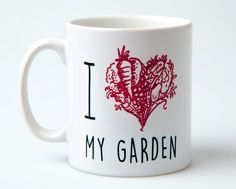 I Love My Garden Mug - mug, garden gift, gift for gardener, garden lover, heart, love, homeware, kitchen, coffee mug, illustration by janesallotment on Etsy