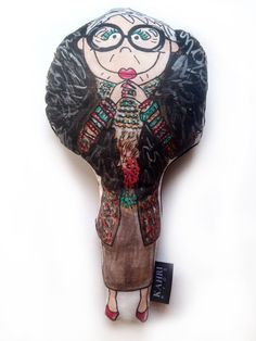 """Iris Apfel Doll. Original watercolor painting illustration artwork by KahriAnne Kerr of Iris Apfel printed on Linen/Cotton Canvas with solid black linen back and filled with poly fiber fill to create a cute little fashion doll. 10.5"""" H."""