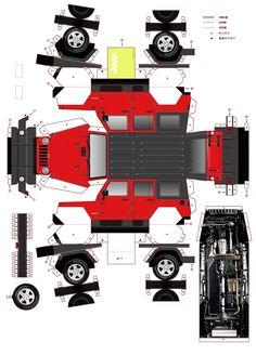 Paper Model Car, Paper Car, Paper Toys, Jeep Wrangler, Diorama Kids, Free Paper Models, 3d Paper Crafts, Model Trains, Collage