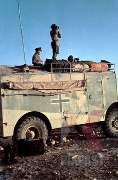 - Axis Light Vehicles: Field Marshal Erwin Rommel watches battlefield in captured British armoured truck. German Soldiers Ww2, German Army, Military Photos, Military History, Luftwaffe, Afrika Corps, North African Campaign, Erwin Rommel, Jeep