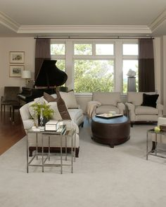 Living Room   Benson Interiors -Boston, Ma  www.bensoninteriors.com #livingroom #interiordesign #piano #sofa #chairs #ottoman #neutral #grey #windowtreatments