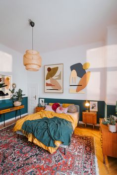 French Home Decor yellow and green palette bedroom with abstract artworks by Jan Skacelik.French Home Decor yellow and green palette bedroom with abstract artworks by Jan Skacelik Room Ideas Bedroom, Home Decor Bedroom, Green Bedroom Decor, 70s Bedroom, Bedroom Artwork, Yellow Home Decor, Bedroom With Green Walls, Eclectic Bedroom Decor, Green Bedroom Colors