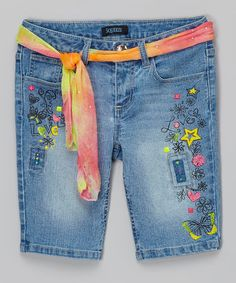 Another great find on #zulily! Light Wash Tie-Dye Graffiti Belted Bermuda Shorts by Squeeze #zulilyfinds