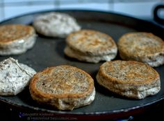 healthfood desivideshi: buckwheat flour English muffins for a gluten free breakfast for bread eaters | a pan baked bread