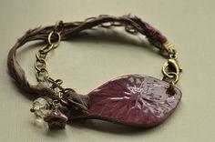 Plum Damson Ceramic Bracelet Bar with Sari by MidnightStarDesigns