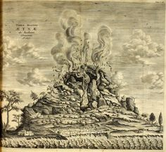 """athanasius kircher - mount etna - as seen by the author, featured in """"mundus subterraneus"""". Duck Boat Blind, Wood Boat Plans, 12 Image, Cartography, Fine Art Paper, Printmaking, Renaissance, Vintage World Maps, Vintage Books"""