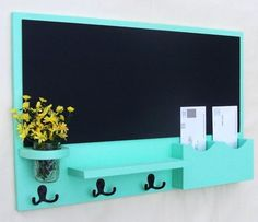 Chalk board mail organizer.. this would be great in a rustic red or brown ..maybe even a rustic white wash