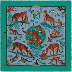 Cashmere Fringed scarf Hermès I Tendresse Feline I Robert Dallet I The cubs play and practise being wild animals and their mother watches over them as they squabble I Robert Dallet gives us a portrait of these magnificent cats he has lovingly studied and drawn for many years