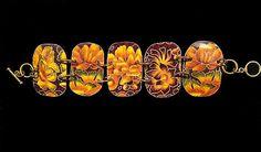 Vintage Tin Golden Lotus Wide Bracelet by ArtsofAvalonJewelry, $40.00