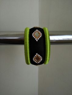 Black n Green Silk Thread Bangles