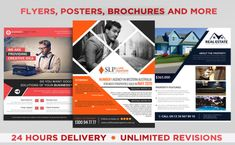 I will professionally design flyers, posters and brochures Flyer Distribution, Flyer Design, Logo Design, 24 Hour Delivery, Flyer Printing, Rack Card, Creative Thinking, Design Reference, Business Flyer
