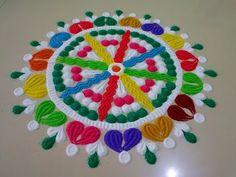 Very very easy and simple rangoli design by DEEPIKA PANT - YouTube Rangoli Kolam Designs, Rangoli Designs Images, Rangoli Colours, Diwali Rangoli, Simple Rangoli, Innovation, Decoration, Color, Flowers