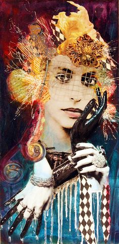 """Four of Cups  Copyright 2010 Andrea Matus Mixed Media on Cradled Wood Panel 12"""" x 24"""""""