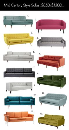 The Ultimate Mid Century Style Sofa Guide! - A Beautiful Mess - The Ultimate Mid Century Style Sofa Guide! – A Beautiful Mess The Ultimate Mid Century Style So - Mid Century Modern Living Room, Mid Century Modern Decor, Mid Century Modern Furniture, Antique Furniture, Plywood Furniture, Furniture Storage, Furniture Makeover, Office Furniture, Mid Century Sofa