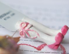 Bride's Legs in the book. Light pink shoes. bookmark by MyBookmark