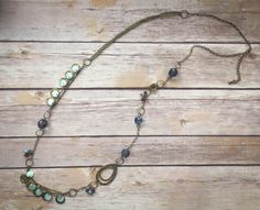 Many Moons Ago - Vintage Look Dusty Gold And Blue Necklace
