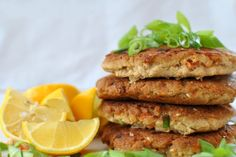 Crabby Patty RECIPE from Trim Healthy Mama. Subbed unsweetened shredded coconut for oats. Amazing!