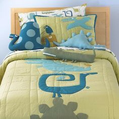 Kids Dinosaur Bedding Comforter Set - eclectic - kids bedding - The Land of Nod