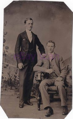Antique TINTYPE/Ferrotype Handsome Young Men/Couple #276 Vintage Photograph