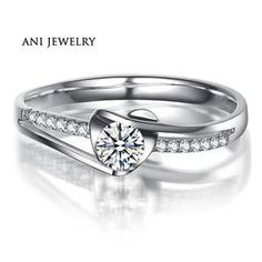 Cheap ring speaker, Buy Quality ring swarovski directly from China ring leopard Suppliers: ANI White Gold Wedding Rings CT Certified I-J/SI Round Cut Diamond Anelli Donna Heart Femme Fine Jewellry Ring Diamond Rings, Diamond Engagement Rings, Diamond Jewelry, Jewelry Rings, Gold Rings, Fine Jewelry, Jewellery, Solid Gold, White Gold