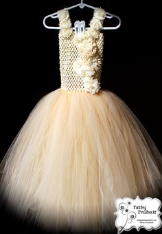 Champagne Chiffon and Tulle Tutu Dress by Paisley Pinwheels  www.facebook.com/paisleypinwheels