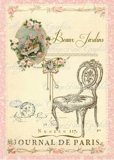 Large digital download Beaux Jardins Paris French pink roses chair single image BUY 3 get one FREE