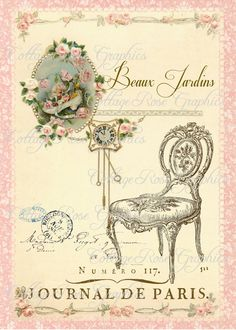 Large digital download Beaux Jardins Paris French pink roses chair single image BUY 3 get one FREE