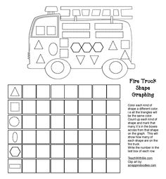 Classroom Freebies: The Wheels On The Fire Truck Go 'Round & 'Round Common Core Packet Fire Truck Activities, Graphing Activities, Shape Activities, Multiplication Games, Math Worksheets, Maths, Safety Games, Kids Safety, Fire Crafts