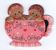 """GINGERBREAD """"Sit Long, Talk Much, Laugh Often"""" - Designed and hand painted by Pamela House"""